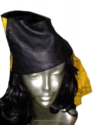 Dignity Silk and Leather Stylized Headwear-Handscreened Mount Aureol Print on Silk